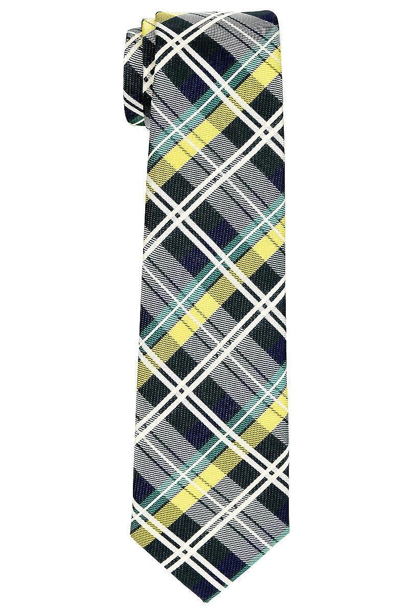 Retreez Elegant Tartan Plaid Check Woven Microfiber Boys Tie 8-10 years RTZ-KDTIE-0083-DKGRYBLE