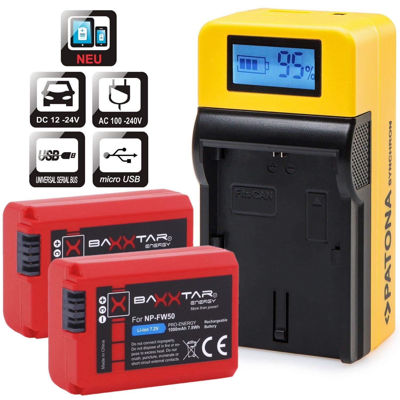 Baxxtar Set - Compatible con batería Sony NP-FW50 - LCD Cargador 5in1 con (2X) Baxxtar Pro baterías - Salida USB para Otros Dispositivos móviles