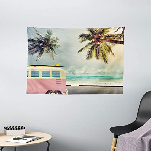Ambesonne Surf Tapestry, Minivan The Beach Retro Inspired Vacation Clouds in Summer Sky Honeymoon Destination, Wide Wall Hanging for Bedroom Living Room Dorm, 60 X 40 , Blue Blush