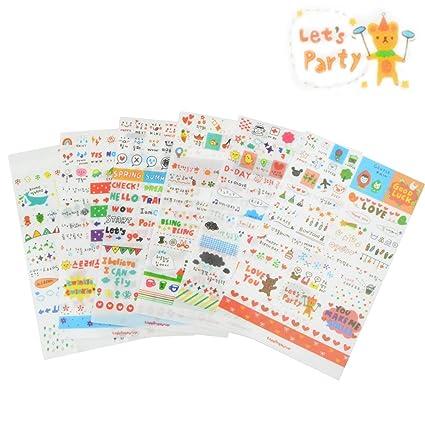 6sheets Momoi Girl Card calendar Scrapbooking Diary Decoration PVC Sticker