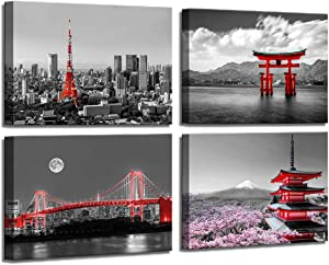 Black and White Canvas Wall Art for Bedroom Japanese Art Evening Scenery of the Rainbow Bridge Across Tokyo Bay Tokyo Tower Great Floating Gate Mt Fuji Cherry Blossom Room Decor for Bedroom Aesthetic