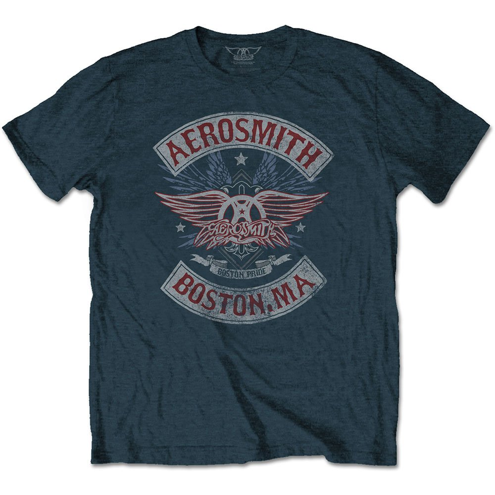 Aerosmith Men's Boston Pride Cotton Short Sleeves Tee Shirt (Boston Pride, Medium)