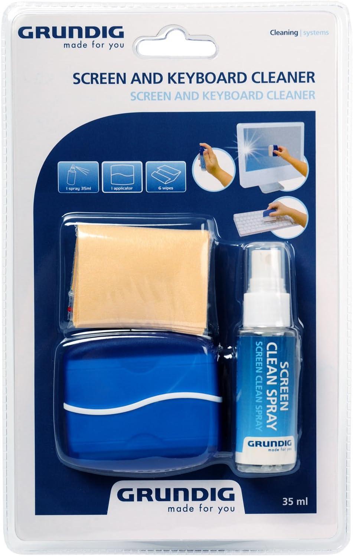 Grundig - Juego de accesorios para la limpieza de pantallas y teclados (spray de 35 ml, aplicador y toallita)