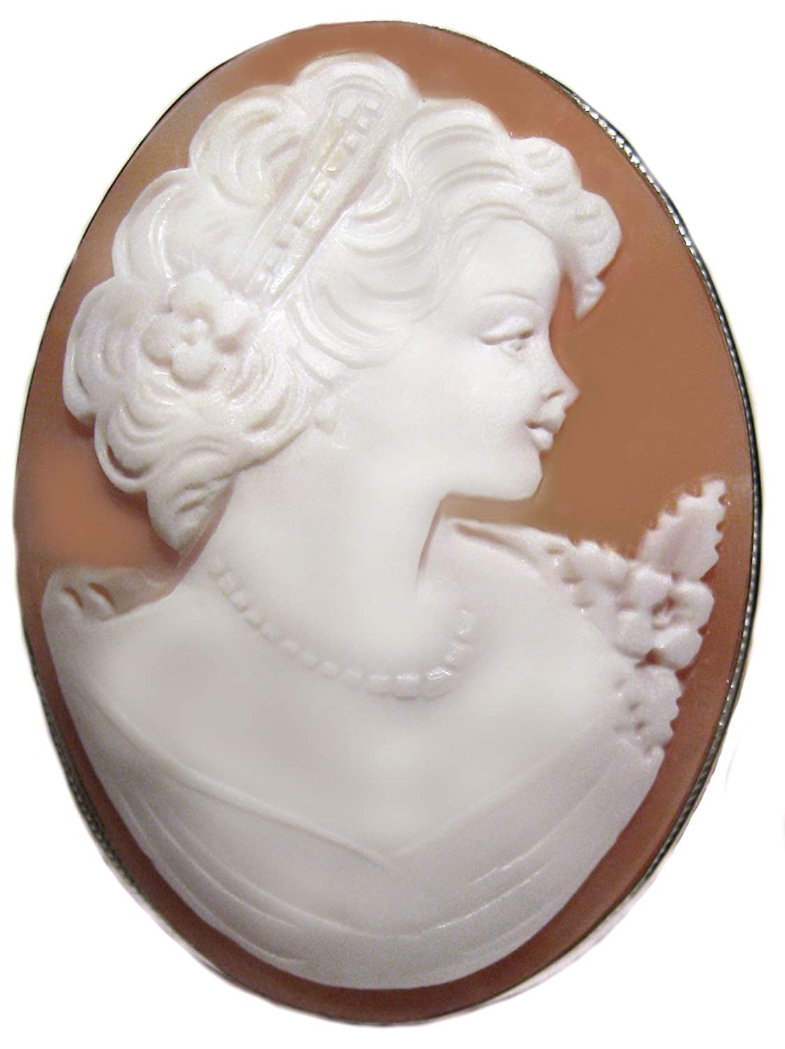 Brooch and Pendant Cameo Master Carved, Natural Genuine Sardonyx Shell Sterling Silver Frame Italian