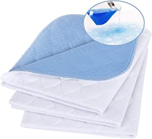 "Non-Slip Bed Pads for Incontinence,20""X24"" (3 Pack),Waterproof Washable Underpads and Mattress Protectors,Absorbent Incontinence Bed Pads for Children,Kids,Pets"