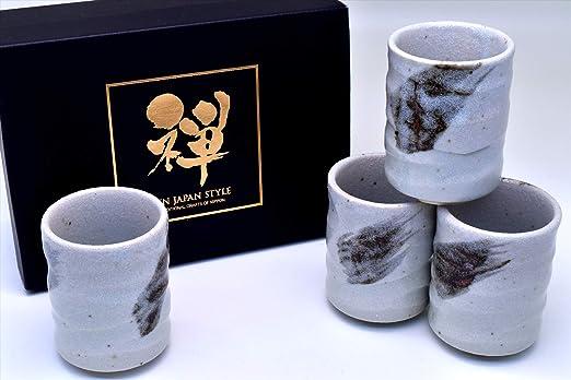 Black/&Blue/&Gray 2.5//2.5//3.3inch Japanese Mino Yaki Sushi Yunomi Tea Cup 4pc set 6.5//6.5//8.5cm