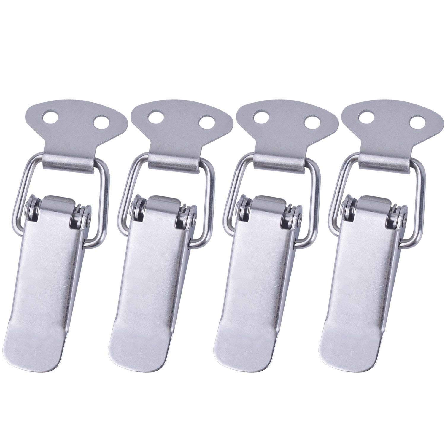 4 Sets Spring Loaded Toggle Latch Stainless Steel Clasp Hasp Clamp Clip for Toolbox/Closet/Chest Trunk Latch euhuton
