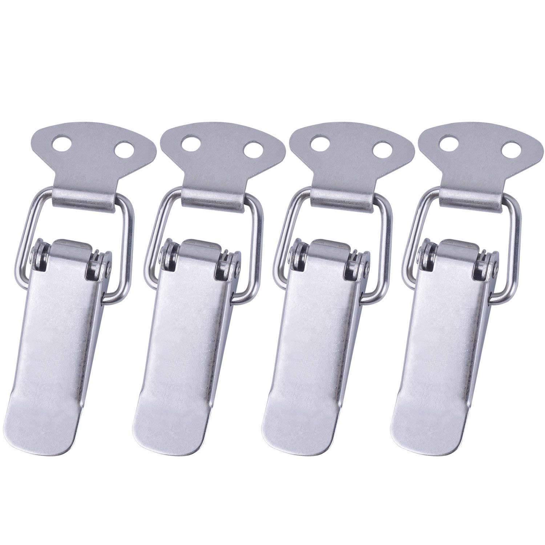 4jeux à ressort à bascule Loquet Moraillon Fermoir en acier inoxydable Clip de serrage pour boîte à outils/armoire/coffre Loquet euhuton