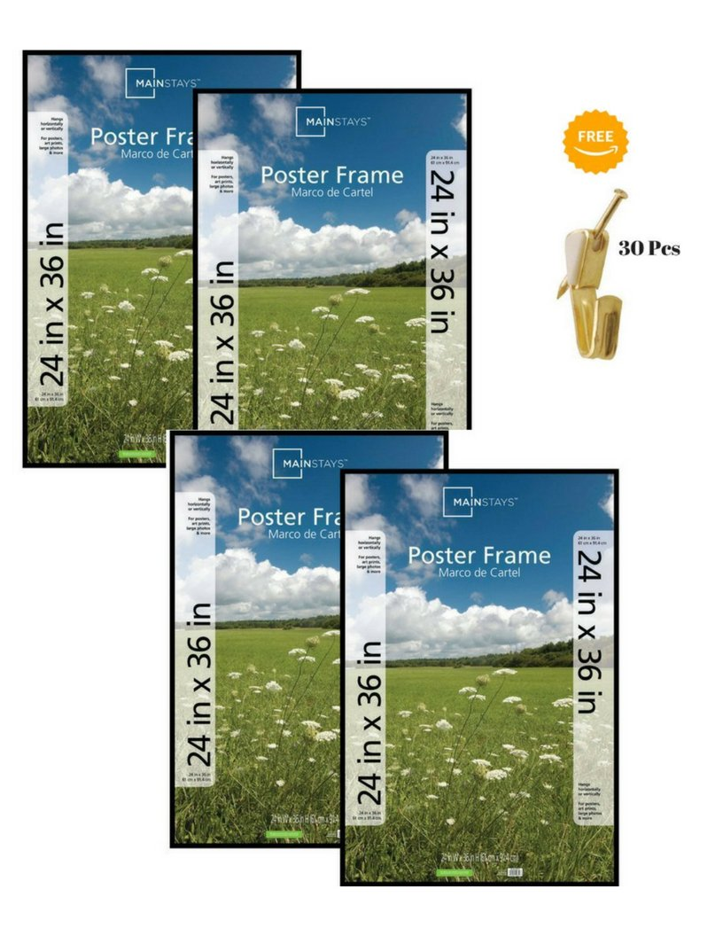 Amazon.com: Mainstays 24x36 Basic Poster & Picture Frame, Black, Set ...