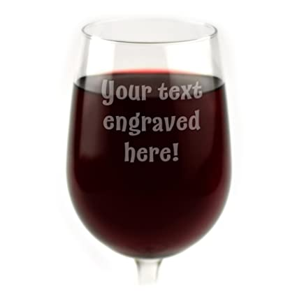 c231172ac2b Amazon.com: Personalized Wine Glass Engraved with Your Custom Text: Kitchen  & Dining