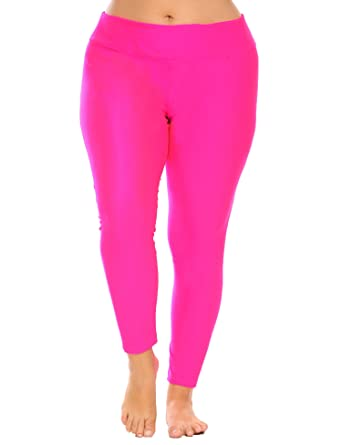 10b37116ff6e2 Zeagoo Women's Plus Size Fold Over Waist Solid Pants Stretch Tights Running  Sport Yoga Leggings Rose