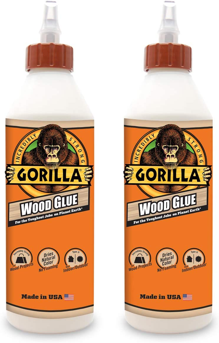 Gorilla Wood Glue, 18 ounce Bottle, (Pack of 2)