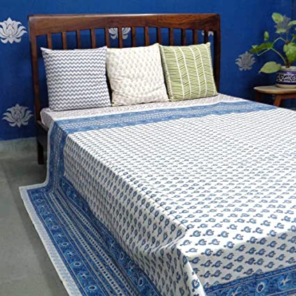 b9dee67f5f Buy ANOKHI Double Size CHOTI BOOTI Aqua Jaipur Fabric Block Printed Design  Bedspread Online at Low Prices in India - Amazon.in