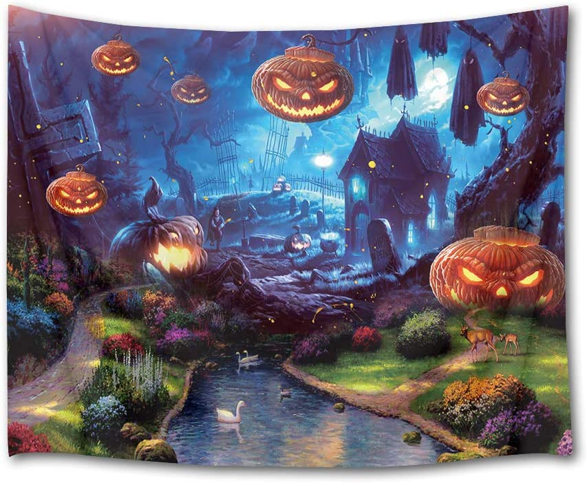 HVEST Halloween Tapestry Terror Pumpkin Jack-O-Lantern Wall Decor Fairy Tale Tapestry White Swan Swim in River Creek Wall Art for Bedroom Home Dorm Halloween Decor 80Wx60H inches