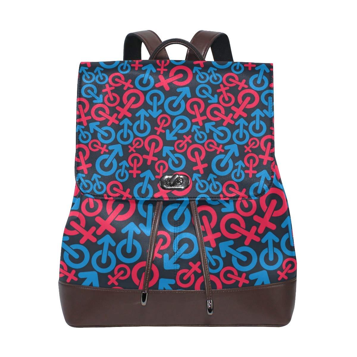 Leather fashion Gender Symbols Sexual backpack For Work//Travel//Leisure//school bag
