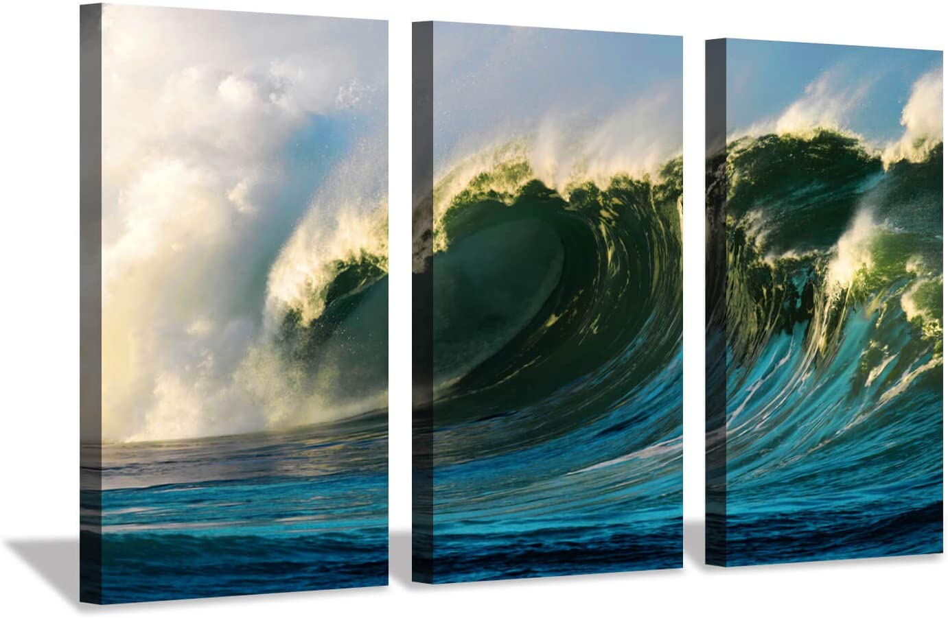 Ocean Wave Canvas Wall Art: Blue Seascape Artwork Picture Painting Print on Canvas for Living Room (34'' x 20'' x 3 Panels)