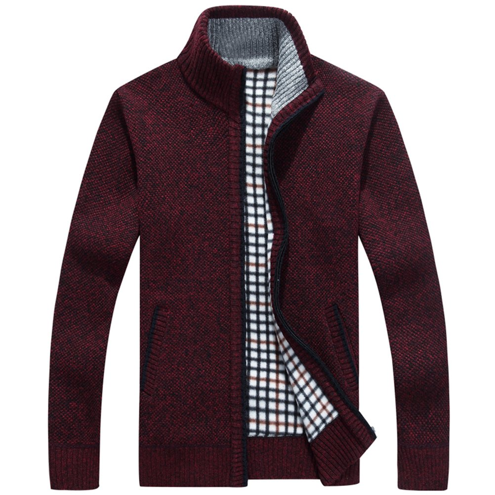 shengweiao Men's Full Zip Kintted Cardigan Sweaters (Small, Red)