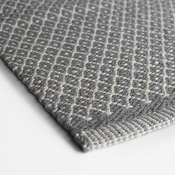 Teppich hellgrau weiss  Aspegren Dänemark - Teppich RHOMBE grey, grau weiß - 70 x 130 cm ...