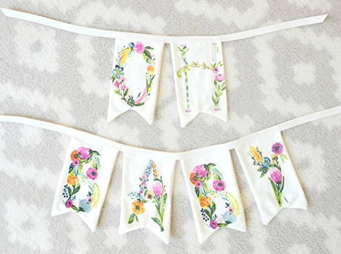 Floral Name Banner Floral Name Bunting Custom Name