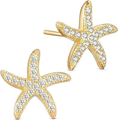 Fashion Jewelry Femmes Plaqué Argent Brillant Zircon étoile Clous D/'Oreilles Boucles D/'oreilles