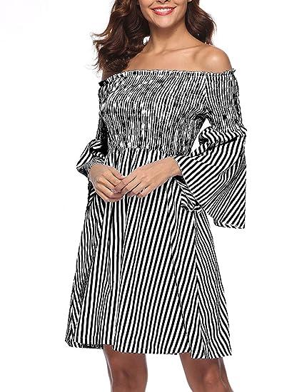 6369808933e90 Lalagen Womens Vintage Striped Plus Size Off Shoulder Party Cocktail Swing Midi  Dress Black S