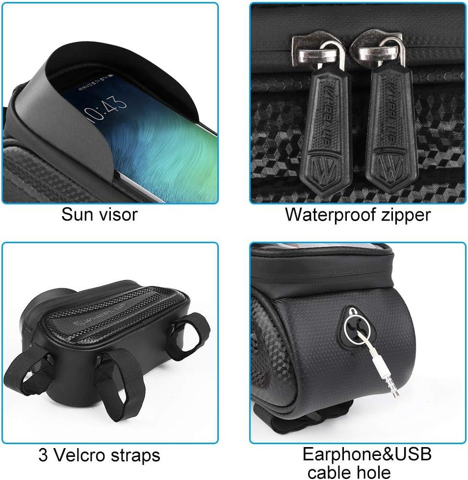 GARDOM Bolsas de Bicicleta,Bolsas Manillar Impermeable Bolsa T/áctil de Tubo Paquete de Ciclismo con Funda para Tel/éfono con Pantalla T/áctil para iPhone X 6 Plus 8//7 Plus 6s 7 5s