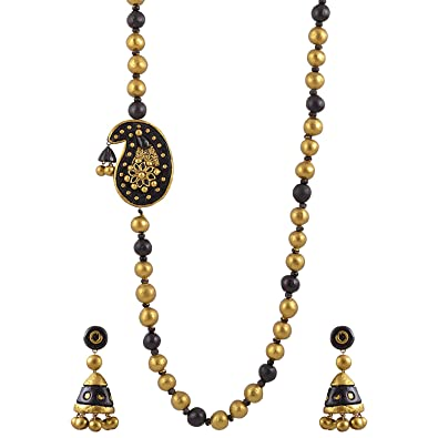 Avarna Terracotta Necklace Set Nsa0007 For Women (Black ) Necklaces at amazon