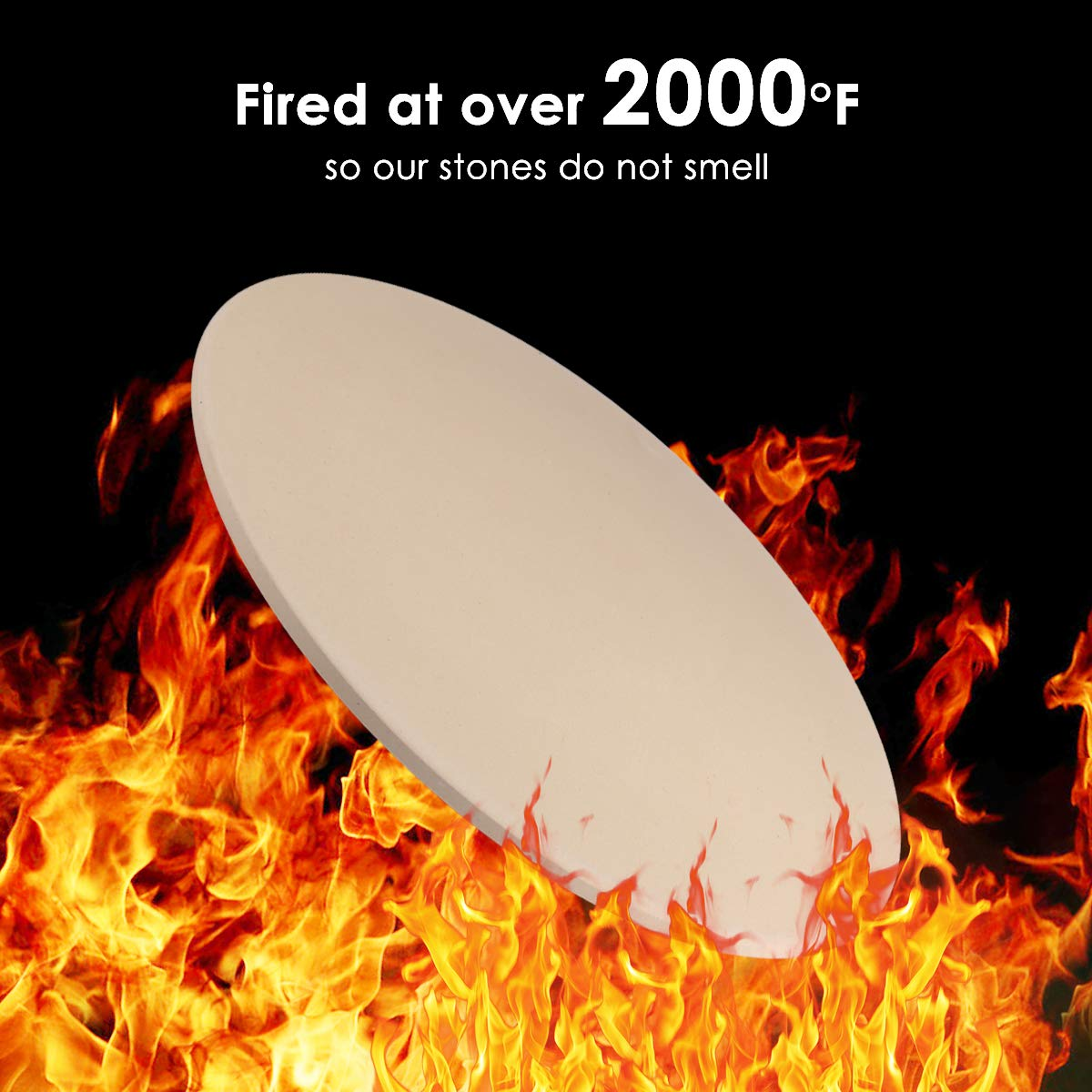 Pizza Stone, Cakie Heavy Duty Ceramic Pizza Grilling Stone, 16 Inch Round Baking Stone, Pizza Pan, Perfect for Oven, BBQ and Grill, Thermal Shock Resistant, Durable and Safe by Cakie (Image #4)