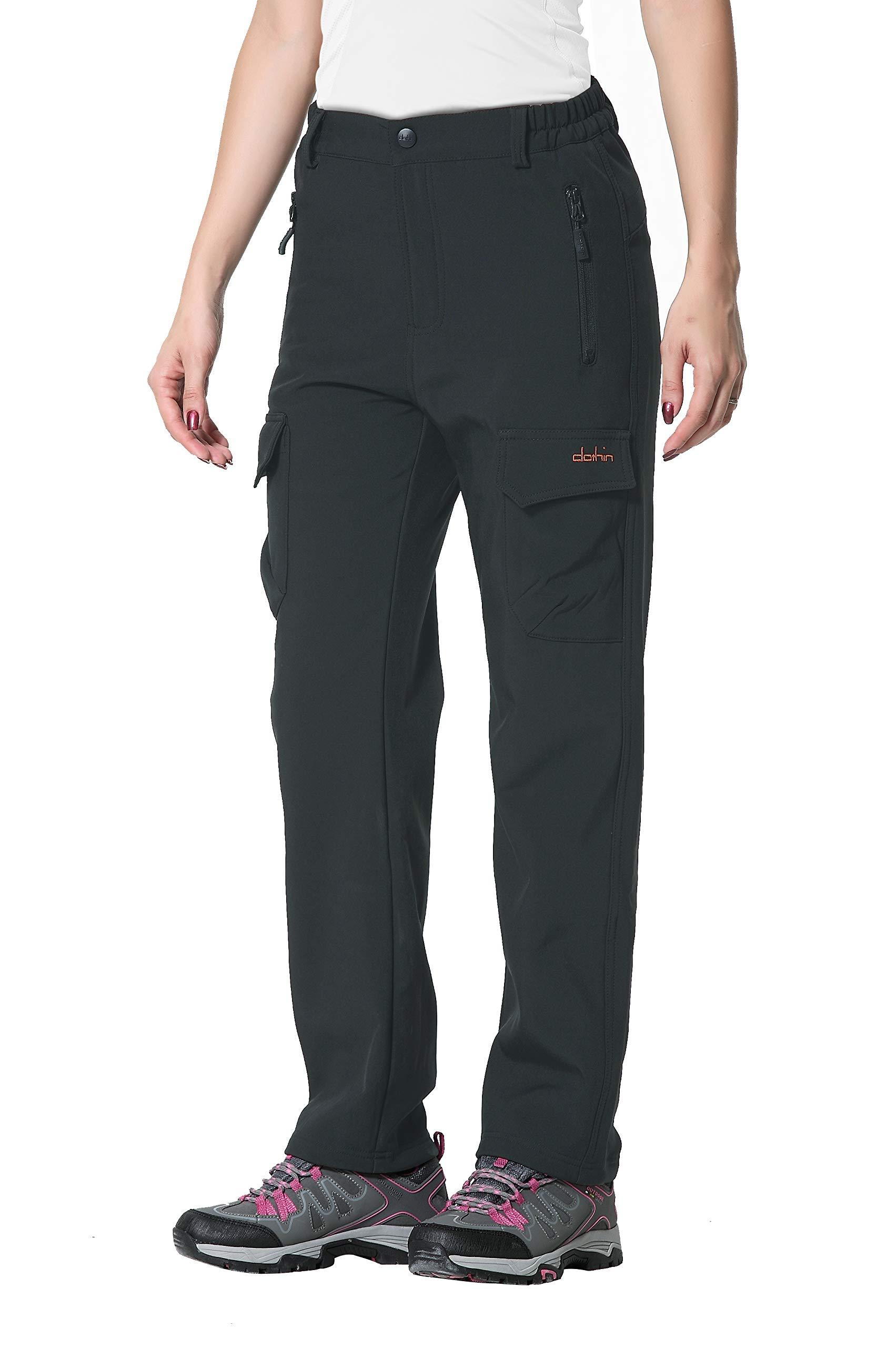 Clothin Women's Fleece Lined Soft Shell Cargo Pants Water Repellent, Wind Resistant