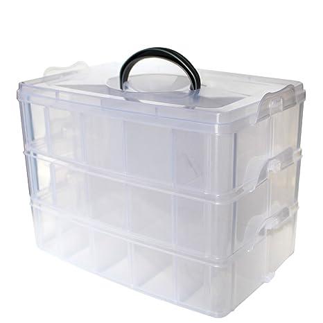 Caja Almacenamiento 3 Niveles Plástico Transparente por Kurtzy - Para Guardar y Organizar Hilos de Coser Cuentas Artículos de Belleza Esmaltes Joyas ...
