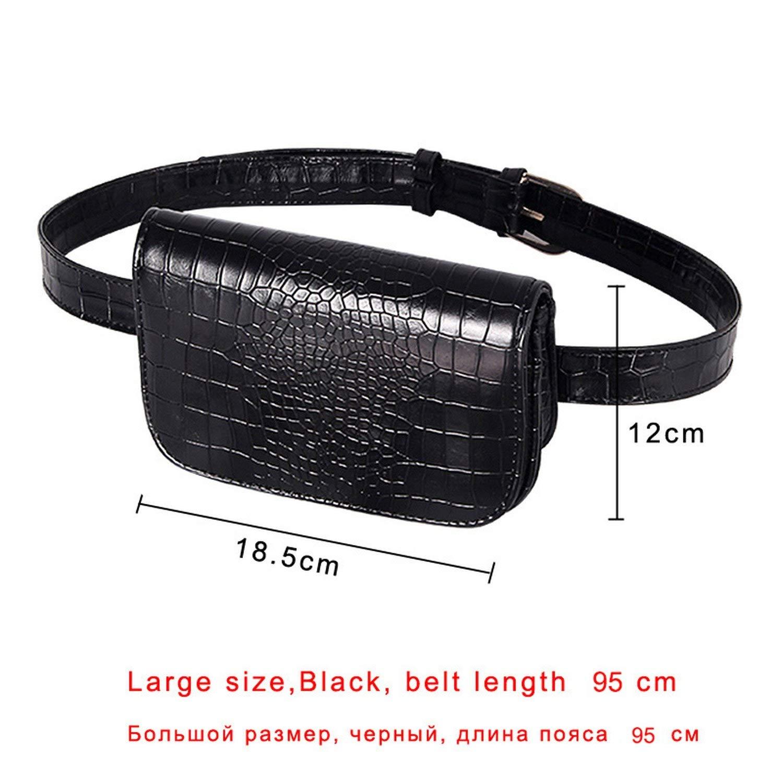 Vintage Waist Bag Women Alligator PU Leather Belt Bag Waist Pack Travel Belt Wallets Fanny Bags