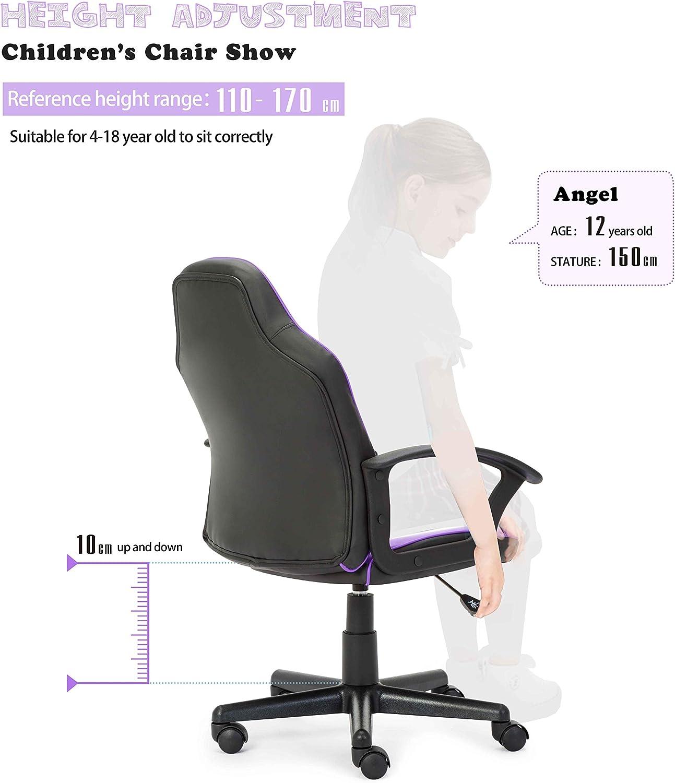 Silla de oficina sillón de piel sintética altura ajustable asiento ...