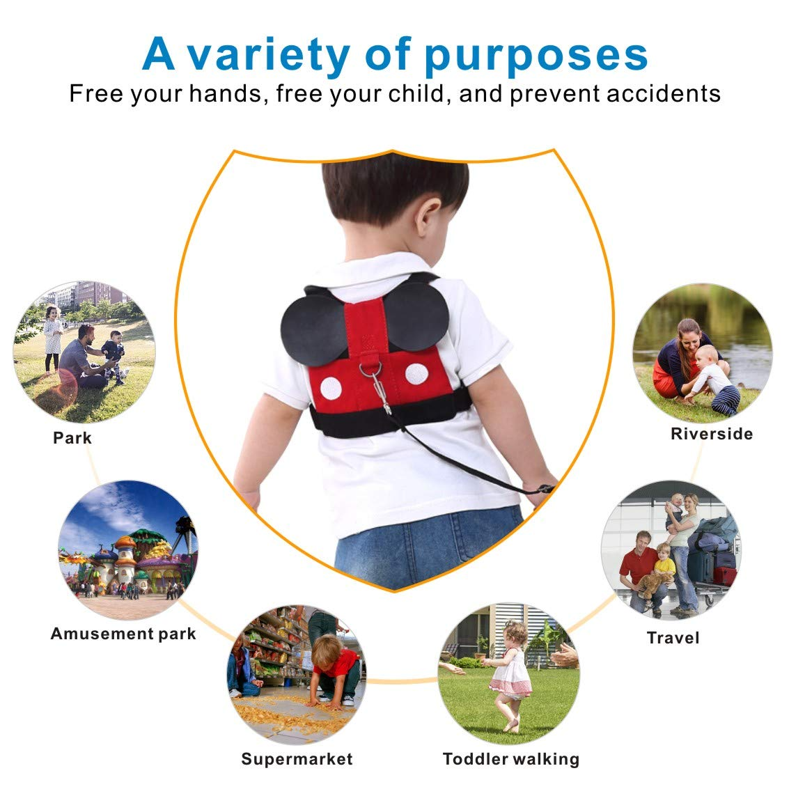 Idefair Kids Harness Kids Walking Leash Safety,Baby Anti Lost Safety Harness,Toddler Harness Safety Leashes for 1-5 Years Old Boys and Girls - Red by Idefair (Image #2)