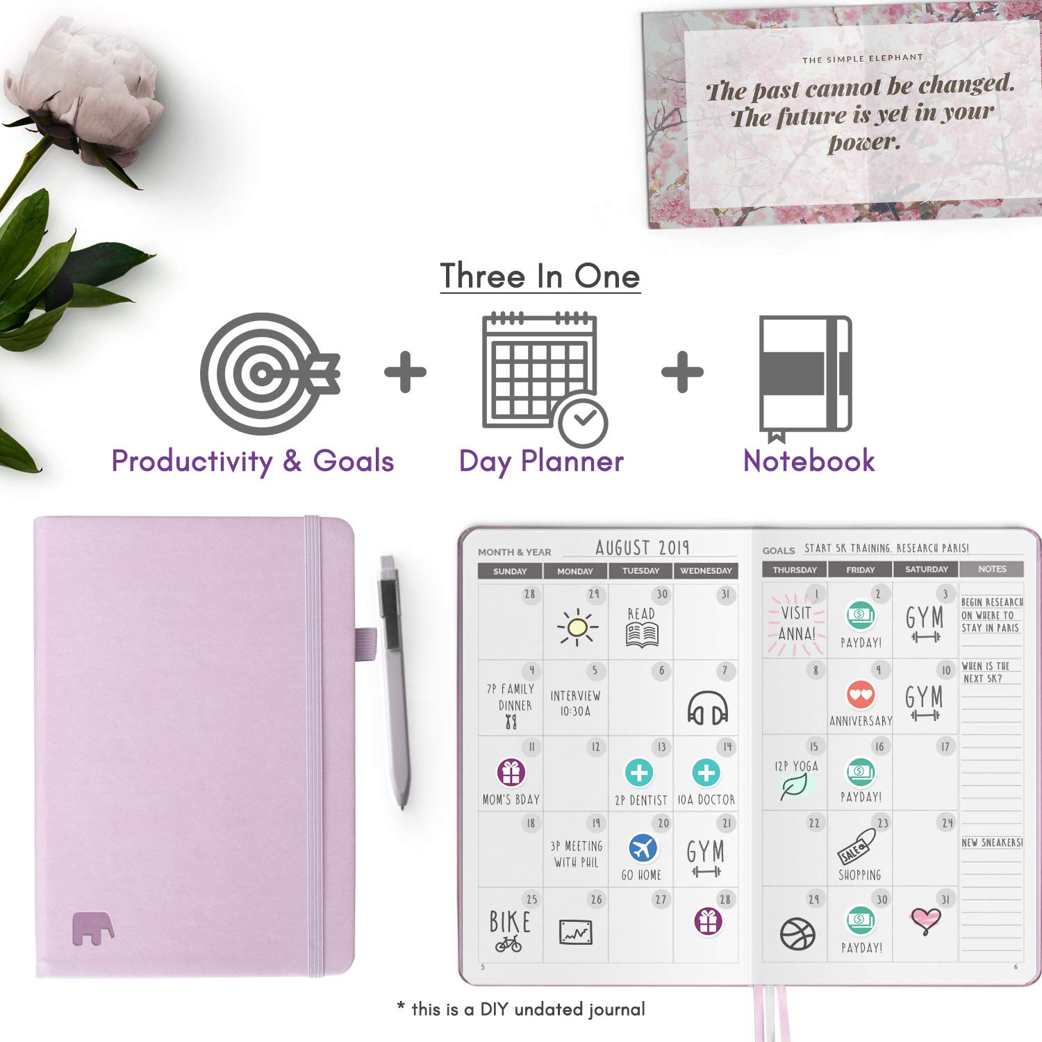 Simple Elephant Planner 2020 - Daily, Weekly, Monthly Agenda - Undated Productivity Journal - Gratitude, Life & Goal, Success (Lilac)