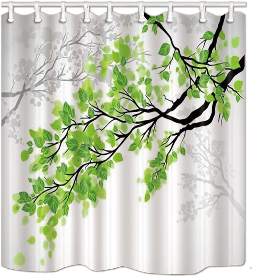 KOTOM Nature Shower Curtain, Green and White Leaf on Tree Branch Art Printing, Polyester Fabric Bath Curtain for Bathroom, 69X70 inches, Bath Accessories 12 Hooks Included
