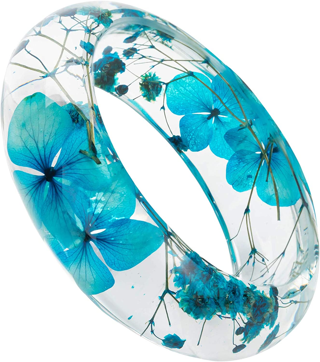 Real flower jewelry. Botanical bracelet handmade with eco epoxy resin Embedded in resin live plants a real Blue Forget-me-nots flowers