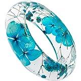 Orange Green Flower pressed flower bangle real flower bangle bracelet resin bangle bracelet