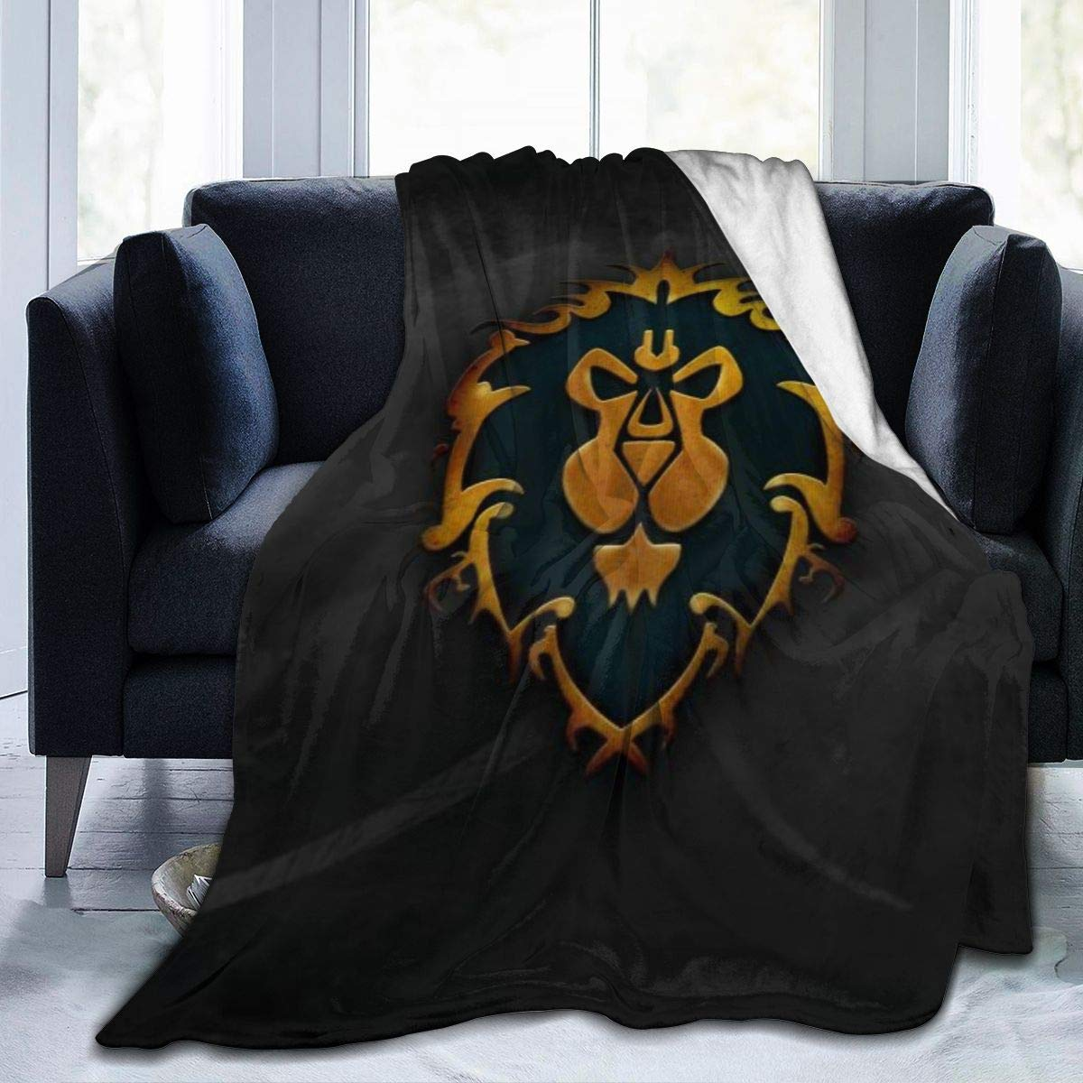 impresi/ón 3D Negro Manta de tama/ño Grande y c/álida para Adultos con Franela Suave Antibolitas para Adultos y ni/ños Fashion DIY World of Warcraft 50 x40