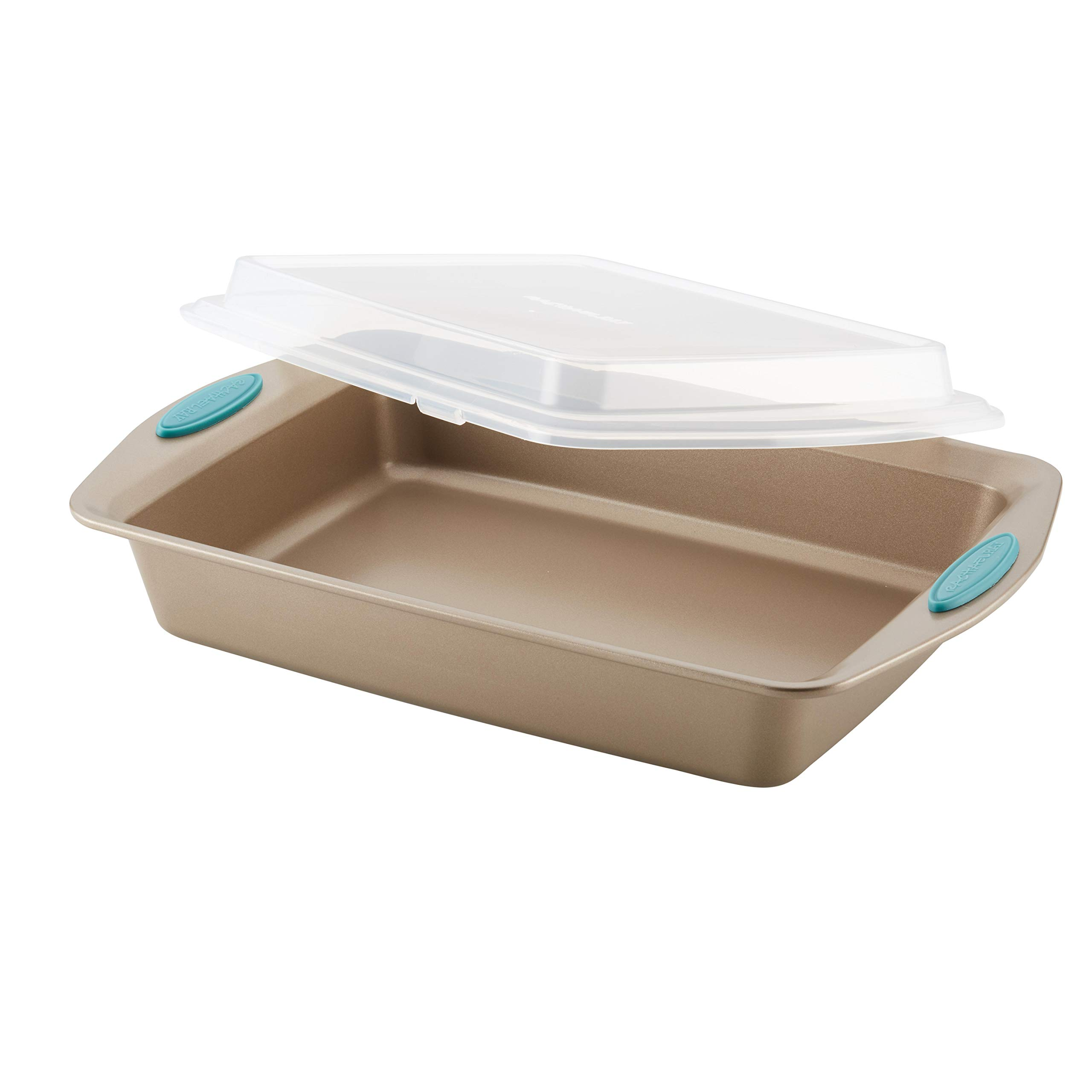 Rachael Ray Cucina Nonstick Bakeware 9-Inch by 13-Inch Covered Rectangle Cake Pan, Latte Brown with Agave Blue Handles by Rachael Ray