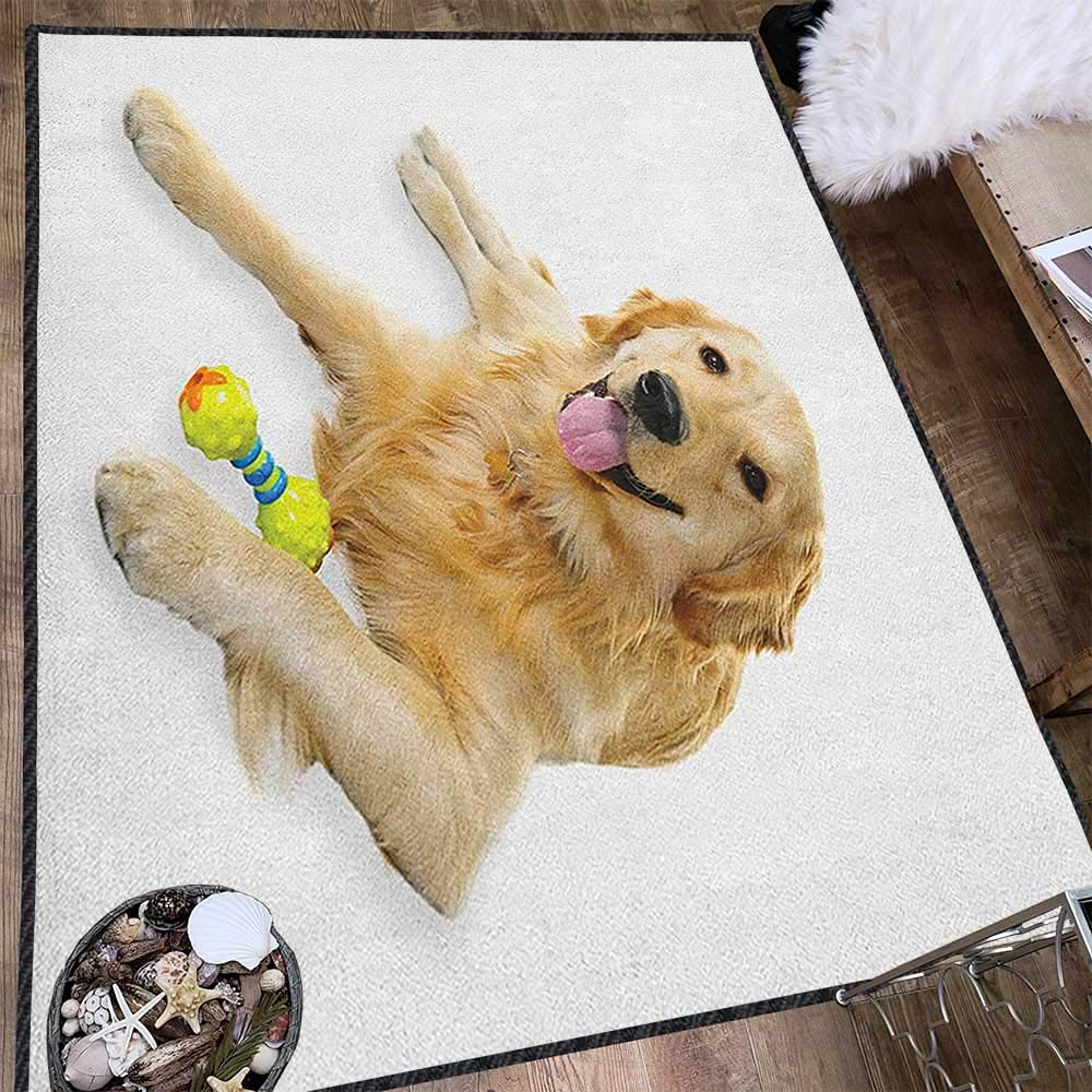 Golden Retriever Unique Area Rug,Pet Dog Laying Down with Toy Friendly Domestic Puppy Playful Companion for Dining Room Bedroom Multicolor 63''x94'' by Philip C. Williams