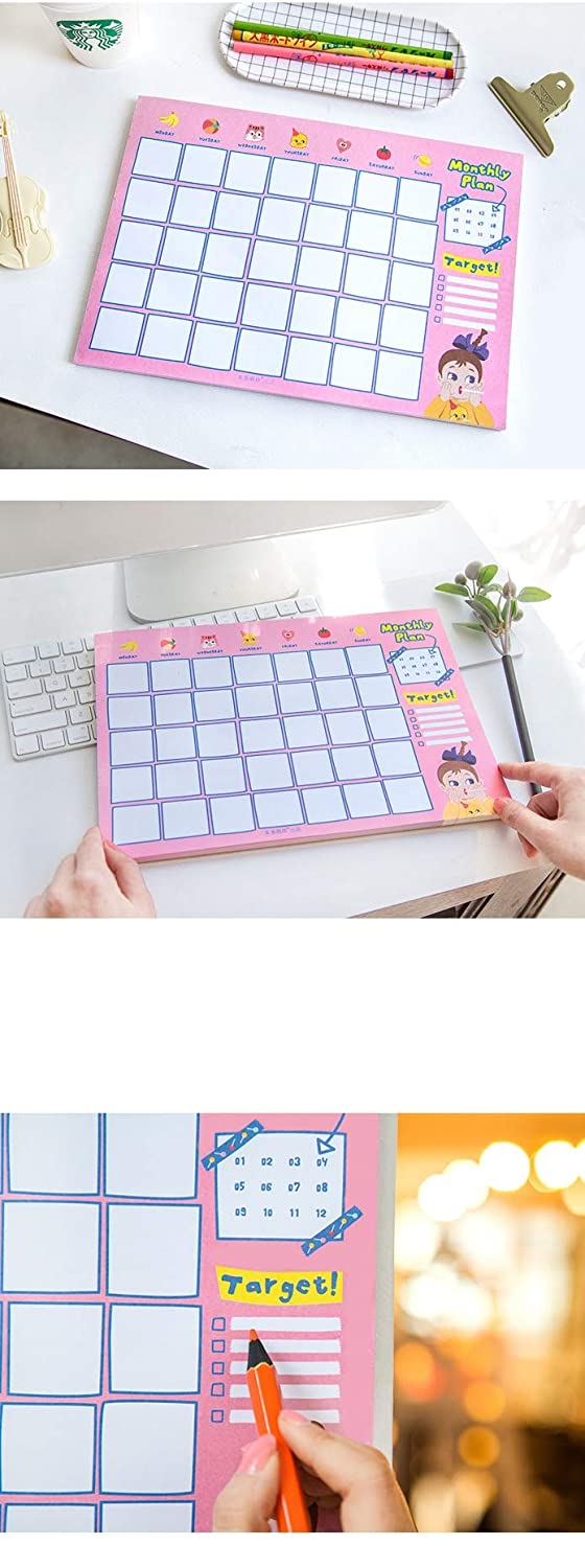 Monthly Schedule Form 60 Sheets Planner Notepad,Undated Make-A-List Desk Calendar Easy Page Tear-Off 12x8.4