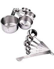 schramm® 10 de Teilges Set Cuchara medidora y vaso medidor de acero inoxidable con regla