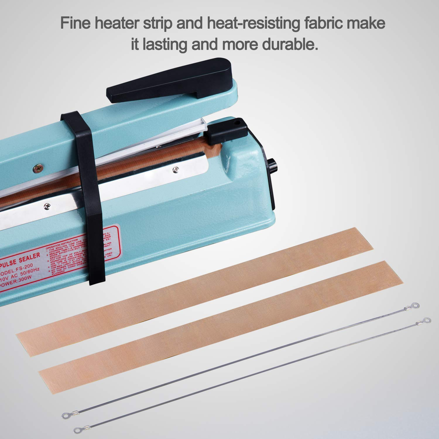Fuxury 8 inch Impulse Heat Sealer Used Pure Copper Transformer,Manual Bag Sealer Heat Seal Closer + 2 Free Replacement KIT (Blue, 8'') by Fuxury (Image #4)