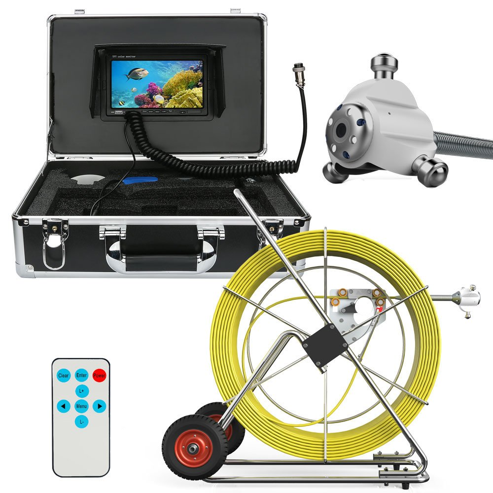 180M 80M 100M 120M 160M Sewer Waterproof Camera Pipe Pipeline Drain Inspection System 7 LCD DVR HD 1000TVL