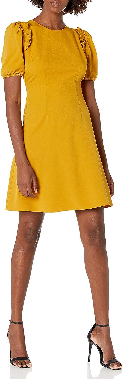 Amazon Brand - Lark & Ro Women's Florence Puff Half Sleeve Empire Waist Fit and Flare Dress