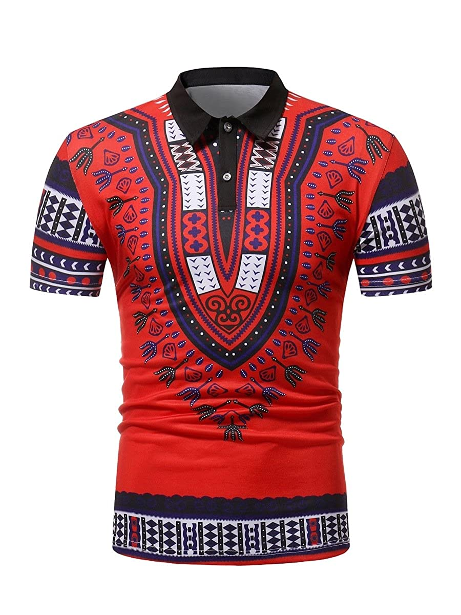 XINHE Mens Casual Short Sleeve Traditional African Style Polo T-Shirts Tee Shirt Tops