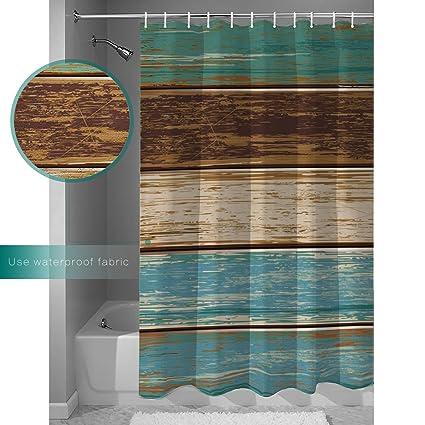 Amazon.com: BedSweet Retro Shower Curtain Rustic Wood Plank 100 ...