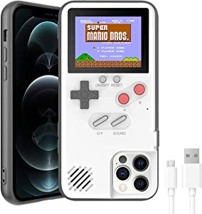 VKSG Gameboy Case for iPhone, Retro 3D Phone Case Handheld Game Console with 36 Classic Game, Full Color Display Shockproof Video Game Phone Cover for iPhone Xs MAX (White)