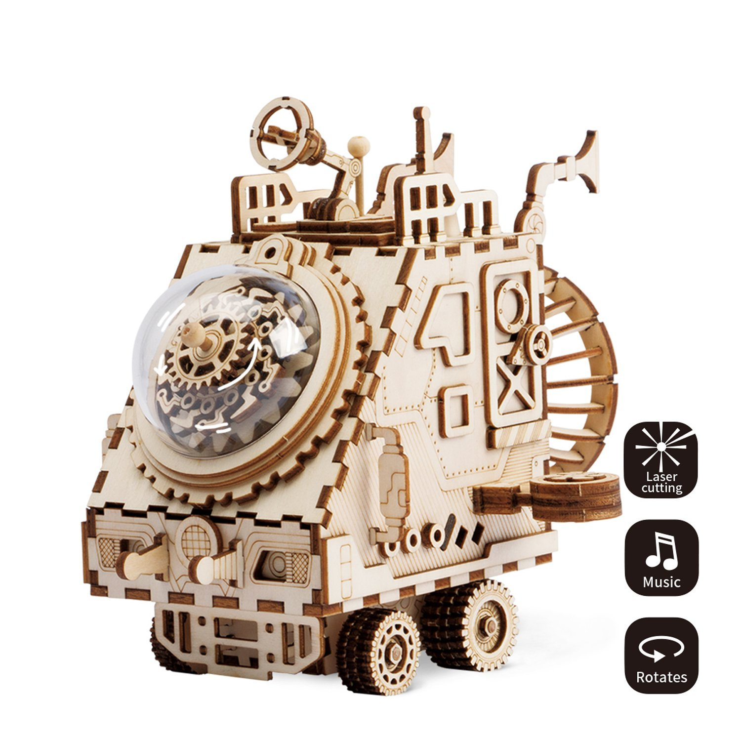 ROBOTIME Laser Cut Wooden Jigsaw Puzzle - Adults Model Kits - DIY Punk Music Box - Construction Model Kits Rabbit Toys for 8 Year Old and Up - Creative Birthday Christmas Gifts for Girls