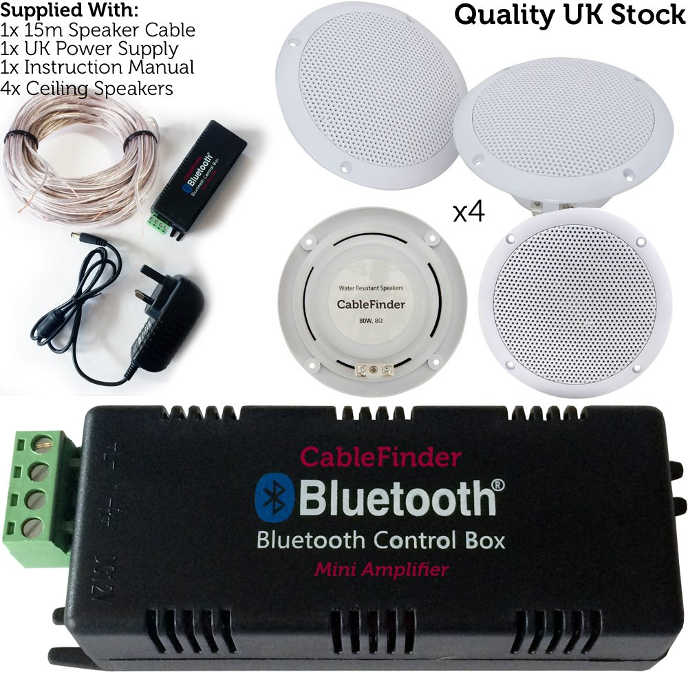Wireless/Bluetooth Amplifier & 4x 80W Ceiling Speaker Kit –Home Hi-Fi Amp System Loops 3138